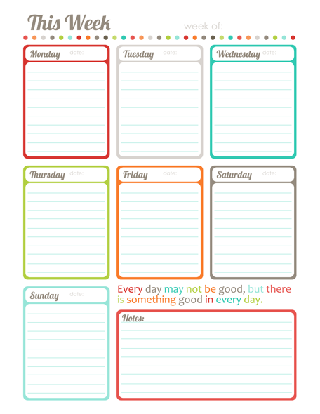 Free weekly planner from Word Label